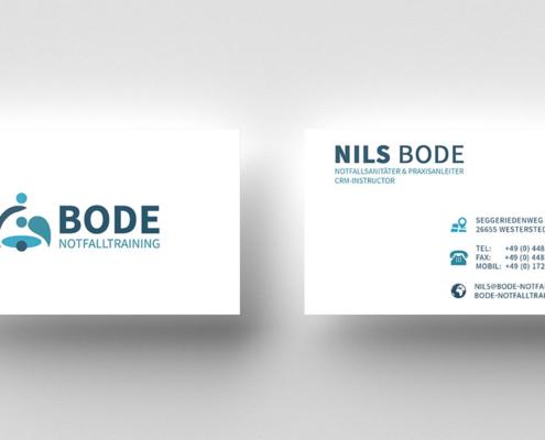 Visitenkarten für Bode Notfalltraining - Frontansicht