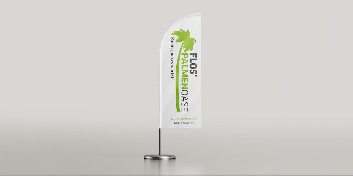 Beachflag für Flos Palmenoase - Ansicht einzeln vorne